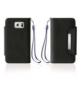 Lychee PU leather wallet Galaxy S6 edge - Black