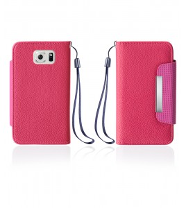 Lychee PU leather wallet Galaxy S6 edge - Hot Pink