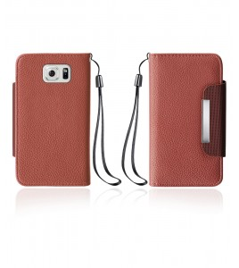 Lychee PU leather wallet Galaxy S6 edge - Brown