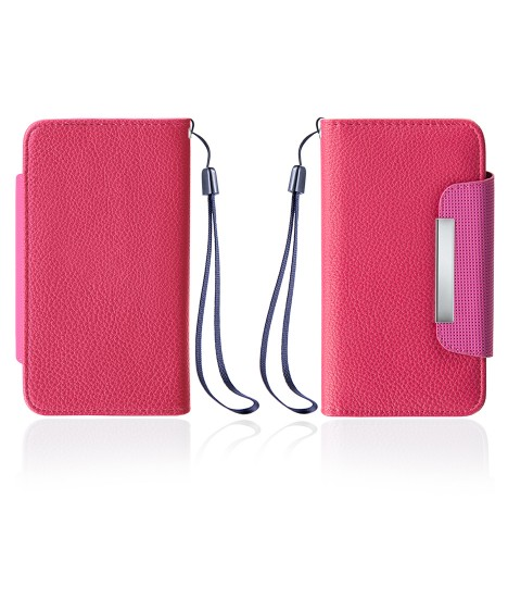 Detachable Lychee PU wallet Galaxy S6 edge - Hot Pink
