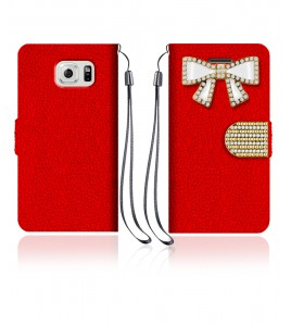 Diamond Bow Wallet Galaxy S6 edge - Red