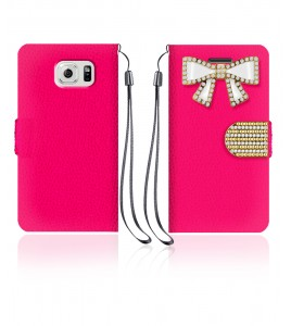 Diamond Bow Wallet Galaxy S6 edge - Hot Pink
