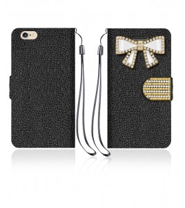 Diamond Bow Wallet iphone 6/6S - Black