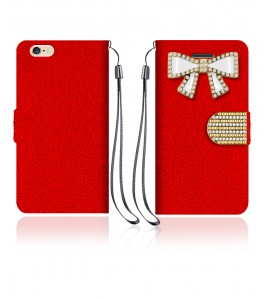 Diamond Bow Wallet iphone 6/6S - Red