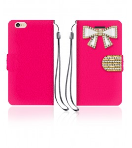 Diamond Bow Wallet iphone 6/6S - Hot Pink