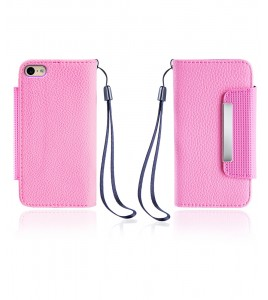 Lychee PU leather wallet iPhone 6/6S - Pink