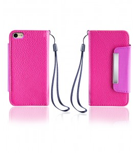 Lychee PU leather wallet iPhone 6/6S - Hot Pink
