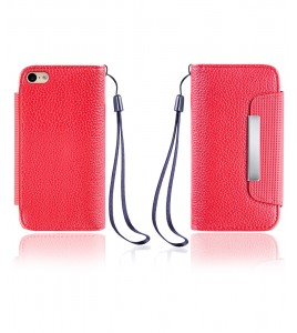 Lychee PU leather wallet iPhone 6/6S - Red