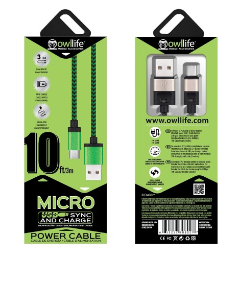 Micro USB Sync/Charge 10ft Cable