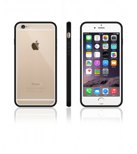 Clear Back Gummy Case iphone 6/6S - Black
