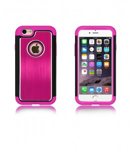 Metal Dual Protection iphone 6/6S - Hot Pink